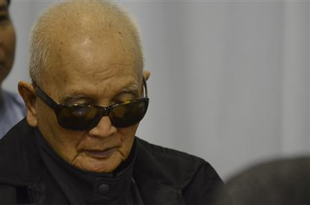 Former Khmer Rouge leader ''Brother Number Two'' Nuon Chea attends former Khmer Rouge S-21 prison chief Kaing Guek Eav alias Duch's (not pictured) testimony at the Court Room of the Extraordinary Chambers in the Courts of Cambodia (ECCC) on the outskirts of Phnom Penh March 19, 2012. REUTERS/Nhet Sokheng/ECCC/Handout