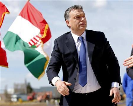 Hungarian Prime Minister Viktor Orban attends a foundation stone laying ceremony for a new division of the Knorr-Bremse factory in Kecskemet, 90km (56 miles) east of Budapest, April 11, 2013. REUTERS/Laszlo Balogh