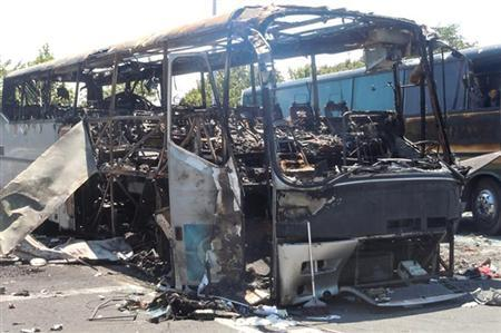 A bus that was damaged in a bomb blast on Wednesday is seen outside Burgas Airport, about 400km (248miles) east of Sofia July 19, 2012. REUTERS/Interior Ministry/Handout