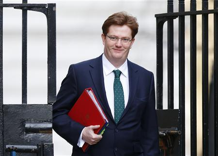 Britain's Chief Secretary to the Treasury Danny Alexander is seen leaving after attending a Cabinet meeting at Number 10 Downing Street in London in this March 12, 2013 file photograph. REUTERS/Andrew Winning/files