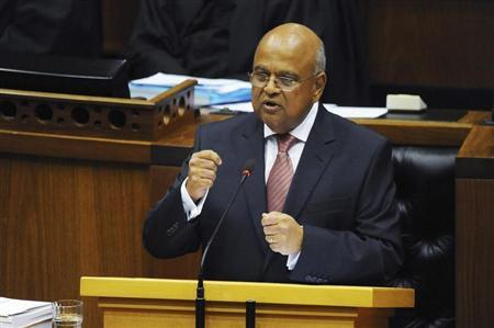 South African Finance Minister Pravin Gordhan delivers his 2013 Budget speech at Parliament in Cape Town February 27, 2013. REUTERS/Stringer