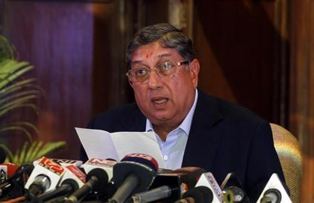 Indian cricket board (BCCI) President N. Srinivasan speaks to the media during a news conference in Kolkata May 26, 2013. REUTERS/Rupak De Chowdhuri