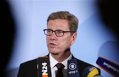 German Foreign Minister Guido Westerwelle speaks during a news conference in New York, June 3, 2013. Germany and Mexico are expected to sign the United Nations Arms Trade Treaty Monday at U.N. headquarters in New York. REUTERS/Mike Segar