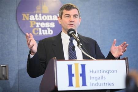 Mike Petters, president and CEO of Huntington Ingalls Industries (HII), speaks to reporters at the National Press Club in Washington, in this April 4, 2011 file photo. REUTERS/The National Press Club/Handout