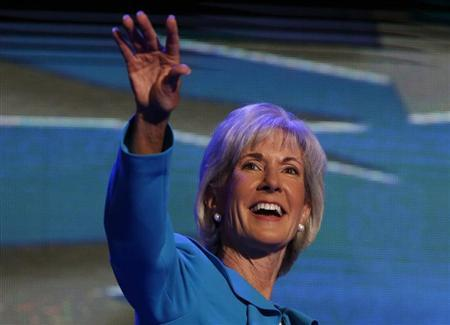 U.S. Secretary of Health and Human Services Kathleen Sebelius addresses the first session of the Democratic National Convention in Charlotte, North Carolina September 4, 2012. REUTERS/Eric Thayer