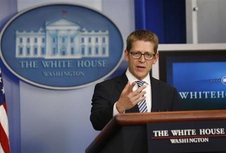White House press secretary Jay Carney speaks to the press during the daily briefing at the White House in Washington, May 20, 2013. REUTERS/Jason Reed