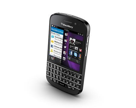 The BlackBerry Q10 is seen in this undated handout image. REUTERS/BlackBerry/Handout