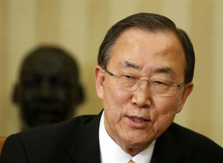 United Nations General Secretary Ban Ki-moon speaks after a meeting with U.S. President Barack Obama in the Oval Office of the White House, April 11, 2013. REUTERS/Larry Downing/Files
