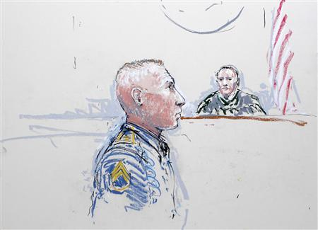 Army Staff Sergeant Robert Bales (L) and Judge Col. Jeffery R. Nance are seen in a sketch from January 17, 2013, as Bales is arraigned on 16 counts of premeditated murder, six counts of attempted murder and seven of assault at Joint Base Lewis-McChord, Washington. REUTERS/Peter Millett/Files