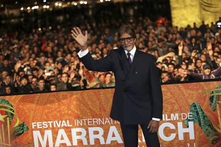 Indian actor Amitabh Bachchan waves during the opening ceremony of the 12th Marrakech International Film Festival in Marrakech November 30, 2012. REUTERS/Stringer/Files