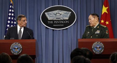 U.S. Secretary of Defense Leon E. Panetta (L) and China's Minister of National Defense Gen. Liang Guanglie hold a news conference following their meeting at the Pentagon in Washington May 7, 2012. REUTERS/Kevin Lamarque