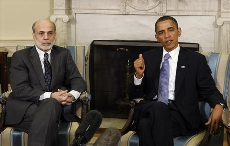 U.S. President Barack Obama meets Chairman of the Federal Reserve Ben Bernanke in the Oval Office of the White House in Washington, June 29, 2010. REUTERS/Larry Downing