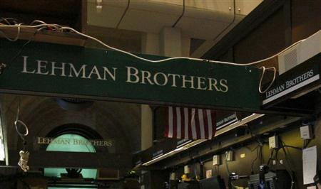 The Lehman Brothers booth on the trading floor of the New York Stock Exchange, is shown in this September 16, 2008 file photo. REUTERS/Brendan McDermid/Files