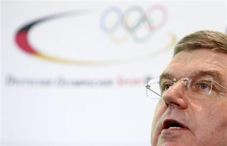 German Olympic Sports Confederation (Deutscher Olympischer Sportbund, DOSB) President Thomas Bach addresses a news conference in Frankfurt May 9, 2013. REUTERS/Lisi Niesner