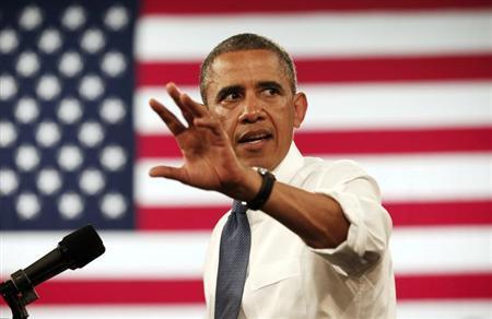 U.S. President Barack Obama speaks during a visit to Mooresville Middle School in Mooresville, North Carolina June 6, 2013. REUTERS/Kevin Lamarque