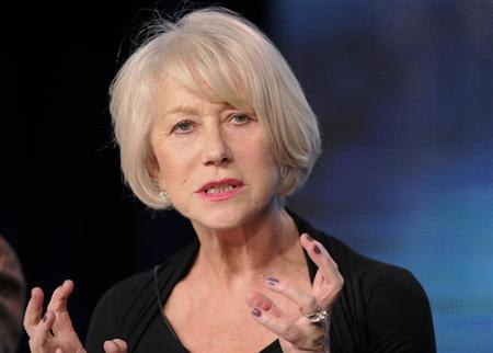 British actress Helen Mirren takes part in a panel discussion of HBO's ''Phil Spector'' during the 2013 Winter Press Tour for the Television Critics Association in Pasadena, California, January 4, 2013. REUTERS/Gus Ruelas