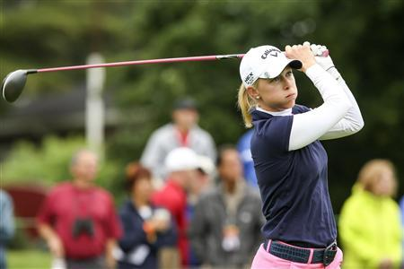 Morgan Pressel of the U.S. tees off on the 18th hole during round one of the LPGA Golf Championship in Pittsford, New York June 7, 2013. REUTERS/Adam Fenster