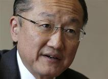 Jim Yong Kim, President of the World Bank Group, answers a reporter's question during an interview with Reuters aside of the 66th World Health Assembly at the United Nations in Geneva May 21, 2013. REUTERS/Denis Balibouse