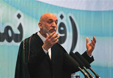 Afghanistan's President Hamid Karzai speaks during a celebration for World Environment Day in Kabul June 8, 2013. REUTERS/Omar Sobhani