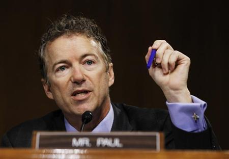 U.S. Senator Rand Paul (R-KY) speaks during a Senate homeland security and governmental affairs investigations subcommittee hearing on offshore profit shifting and the U.S. tax code related to Apple Inc, on Capitol Hill in Washington, May 21, 2013. REUTERS/Jason Reed