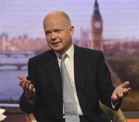 Britain's Foreign Secretary William Hague speaks on the BBC's Andrew Marr Show, presented by Sophie Raworth, in this photograph provided by the BBC, in London June 9, 2013. REUTERS/Jeff Overs/BBC/Handout via Reuters