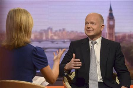 Britain's Foreign Secretary William Hague speaks on the BBC's Andrew Marr Show, presented by Sophie Raworth (L), in this photograph provided by the BBC, in London June 9, 2013. REUTERS/Jeff Overs/BBC/Handout via Reuters