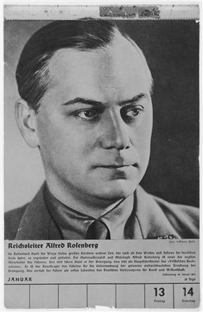 A portrait of Alfred Rosenberg, the Chief Nazi Party Ideologist, is seen in a collection of portraits included in a 1939 calendar of Nazi officials released to Reuters June 7, 2013 by the United States Holocaust Museum. REUTERS/United States Holocaust Memorial Museum, courtesy of Geoffrey Giles/HANDOUT