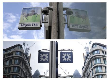 Signs outside branches of Lloyds TSB bank (top) and the Royal Bank of Scotland (RBS) are reflected in windows in London in 2013 file photos. REUTERS/Stefan Wermuth/Toby Melville