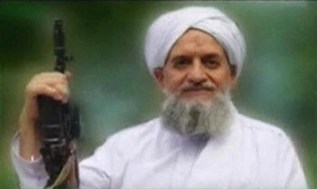 A photo of Al Qaeda's leader, Egyptian Ayman al-Zawahiri, is seen in this still image taken from a video released on September 12, 2011. REUTERS/SITE Monitoring Service via Reuters TV