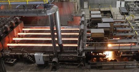 Steel glows at the plant of steelmaker Voestalpine in Donawitz, May 6, 2013. REUTERS/Leonhard Foeger