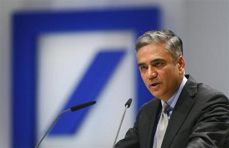 Anshu Jain, Co-chief Executive of Deutsche Bank speaks during a shareholders meeting in Frankfurt, May 23, 2013. REUTERS/Ralph Orlowski
