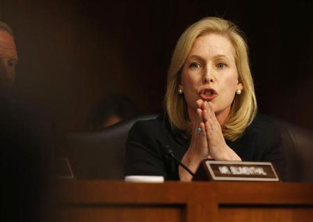 U.S. Sen. Kirsten Gillibrand, (D-NY) speaks about pending legislation regarding sexual assaults in the military at a Senate Armed Services Committee on Capitol Hill in Washington, June 4, 2013. REUTERS/Larry Downing