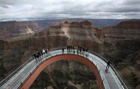 A skywalk extends out over the Grand Canyon in this view from the incomplete building that houses the skywalk, on the Hualapai Indian Reservation, Arizona in this February 28, 2012 file photo.REUTERS/Robert Galbraith/Files