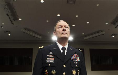 General Keith Alexander, commander of the U.S. Cyber Command, director of the National Security Agency (NSA) and chief of the Central Security Service (CSS), arrives at the Senate Appropriations Committee hearing on Cybersecurity: Preparing for and Responding to the Enduring Threat, on Capitol Hill in Washington June 12, 2013. REUTERS/Yuri Gripas