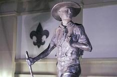 """A statue titled """"Trail to Manhood"""" stands outside the National Scouting Museum in Irving, Texas in this picture taken May 22, 2013. REUTERS/Michael Prengler"""