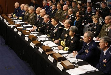 U.S. military generals testify about pending legislation regarding sexual assaults in the military at a Senate Armed Services Committee on Capitol Hill in Washington, June 4, 2013. REUTERS/Larry Downing