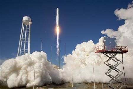 The Orbital Sciences Corporation Antares rocket is seen as it launches from Pad-0A of the Mid-Atlantic Regional Spaceport (MARS) at the NASA Wallops Flight Facility in Virginia, April 21, 2013. REUTERS/Bill Ingalls/NASA/Handout