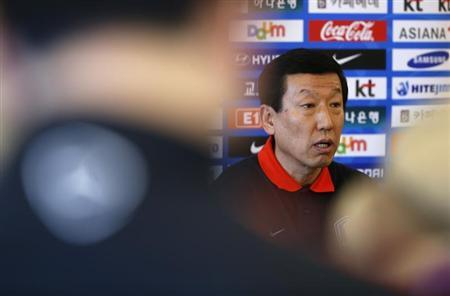 South Korea's national soccer team manager Choi Kang-Hee speaks during a media conference at a hotel in Marlow, southern England February 5, 2013. REUTERS/Eddie Keogh