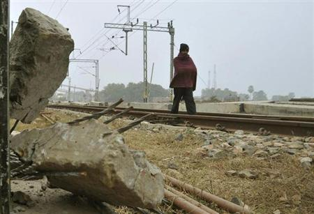 A railway track is seen in Bihar, January 18, 2010. REUTERS/Krishna Murari Kishan/Files