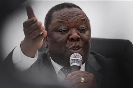 Zimbabwean Prime Minister and leader of the opposition Movement for Democratic Change (MDC) Morgan Tsvangirai speaks at a news conference in Harare June 12, 2013. REUTERS/Philimon Bulawayo
