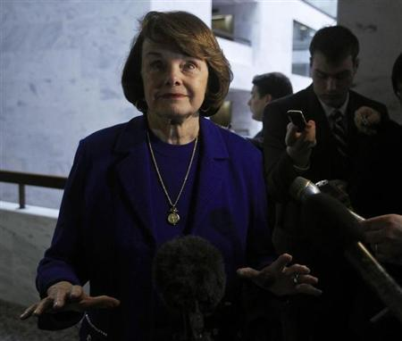 Senator Dianne Feinstein (D-CA), the chair of the United States Senate Select Committee on Intelligence, speaks to the media regarding confirmation hearings of CIA Director nominee John Brennan in Washington March 5, 2013. REUTERS/Gary Cameron