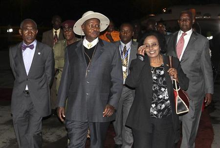 Uganda's President Yoweri Museveni arrives at Bole International airport for the 21st Ordinary Session of the African Union (AU) in Addis Ababa May 24, 2013. REUTERS/Tiksa Negeri