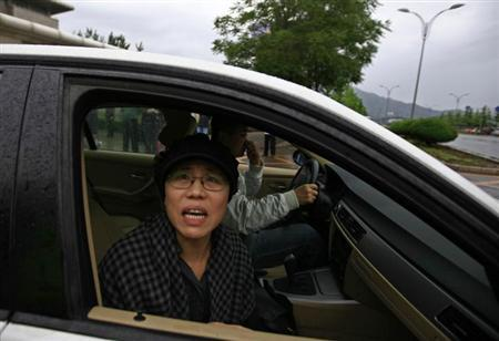 Liu Xia, wife of jailed Nobel Peace Prize Laureate Liu Xiaobo, looks out of a car window after a trial outside a court in the Huairou district of Beijing June 9, 2013. REUTERS/Petar Kujundzic