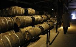 A technical expert inspects a cellar at the Hennessy factory in Cognac, southwestern France, January 22, 2009. REUTERS/Regis Duvignau