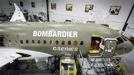 A Bombardier Cseries jet under construction is seen in this handout photo taken in Mirabel, Quebec in this June, 2013 handout provided by Bombardier. Canada's Bombardier wants to carve out a new niche in the cutthroat airplane market with a fuel-efficient jet that makes its first flight this month, but its all-new CSeries needs an avalanche of orders to stave off bigger rivals. REUTERS/Bombardier/Handout via Reuters
