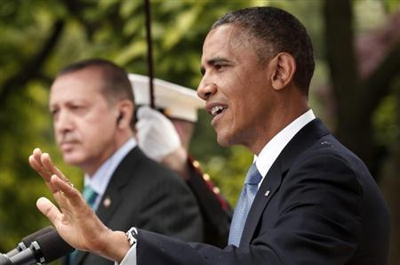 U.S. President Barack Obama (R) and Turkish Prime Minister Recep Tayyip Erdogan hold a joint news conference in the White House Rose Garden in Washington, May 16, 2013. REUTERS/Kevin Lamarque