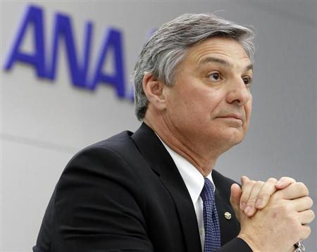 Boeing Commercial Airplanes' Chief Executive Ray Conner speaks during a news conference after conducting an All Nippon Airways' (ANA) Boeing Co. 787 Dreamliner test flight at Haneda airport in Tokyo April 28, 2013. REUTERS/Yuya Shino