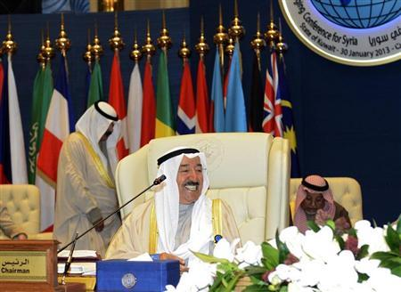 Kuwait Emir Sheikh Sabah al-Ahmed al-Sabah smiles ahead of the opening ceremony of the International Humanitarian Pledging Conference for Syria at Bayan Palace on the outskirts of Kuwait City January 30, 2013. REUTERS/Stephanie McGehee