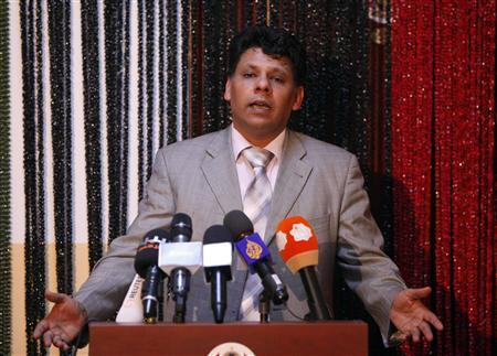 Al Sadiq al-Sour, an official from Libya's prosecutor general office, speaks during a news conference in Tripoli June 17, 2013. REUTERS/Ismail Zitouny
