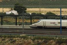 A passenger walks to board an AVE high-speed train at Antequera-Santa Ana train station, near Antequera, southern Spain June 17, 2013. REUTERS/Jon Nazca